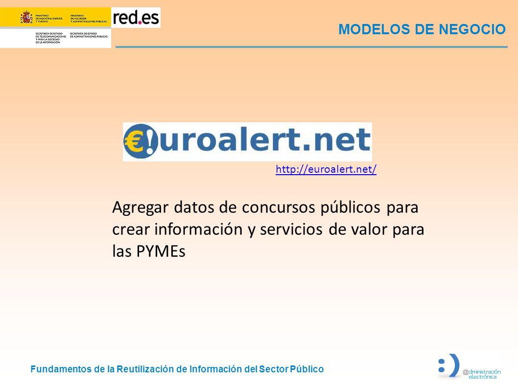 Fundamentos de la Reutilización de Información del Sector Público MODELOS DE NEGOCIO http://euroalert.net/ Agregar datos de concursos públicos para cr