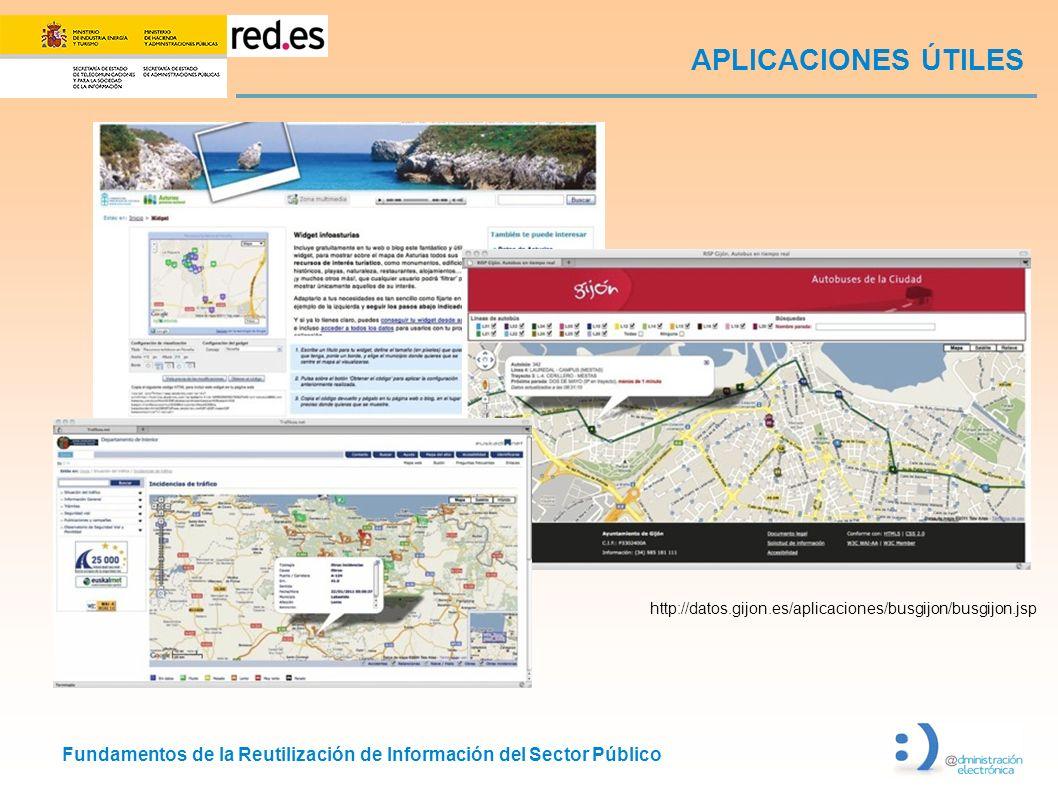 Fundamentos de la Reutilización de Información del Sector Público APLICACIONES ÚTILES http://datos.gijon.es/aplicaciones/busgijon/busgijon.jsp