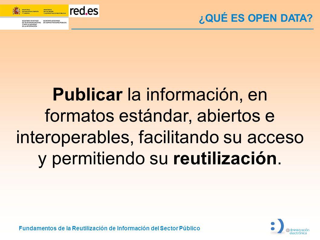 Fundamentos de la Reutilización de Información del Sector Público ¿QUÉ ES OPEN DATA? Publicar la información, en formatos estándar, abiertos e interop