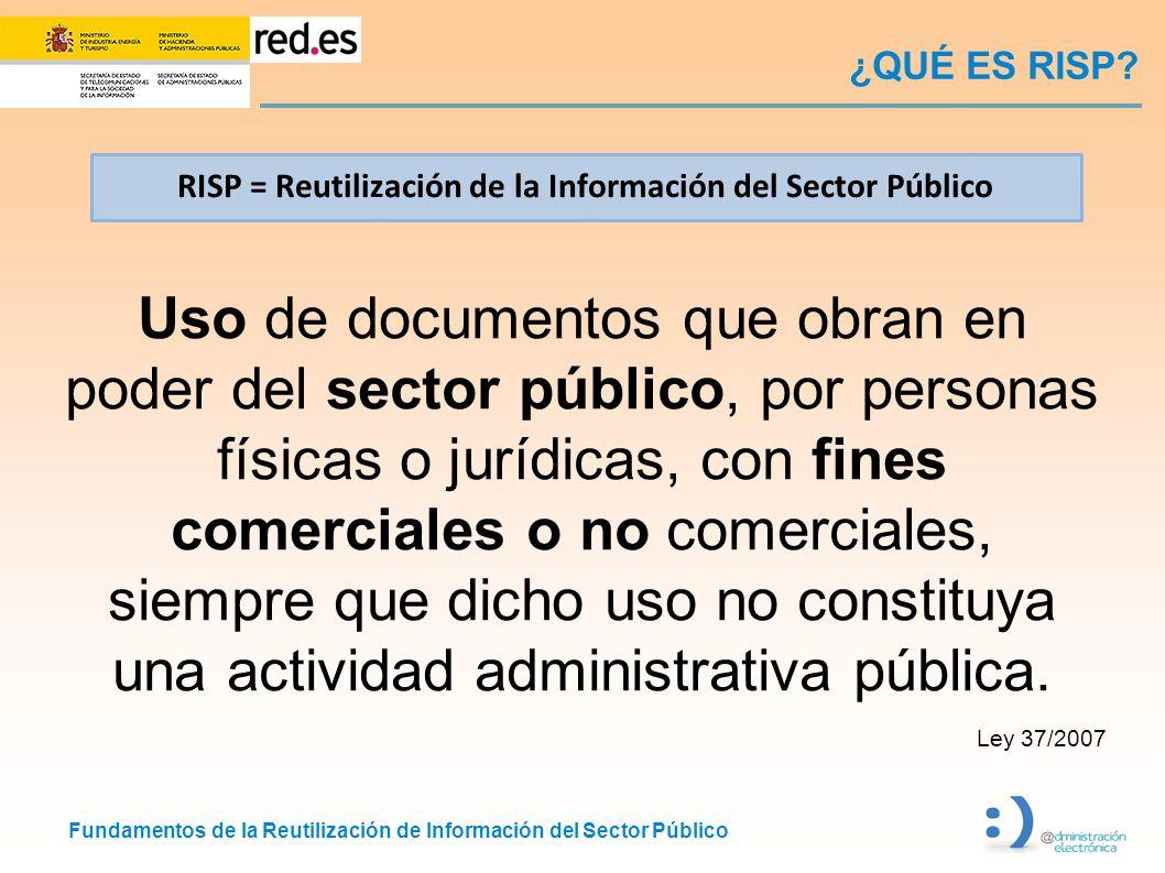 Fundamentos de la Reutilización de Información del Sector Público ¿QUÉ ES RISP? Uso de documentos que obran en poder del sector público, por personas