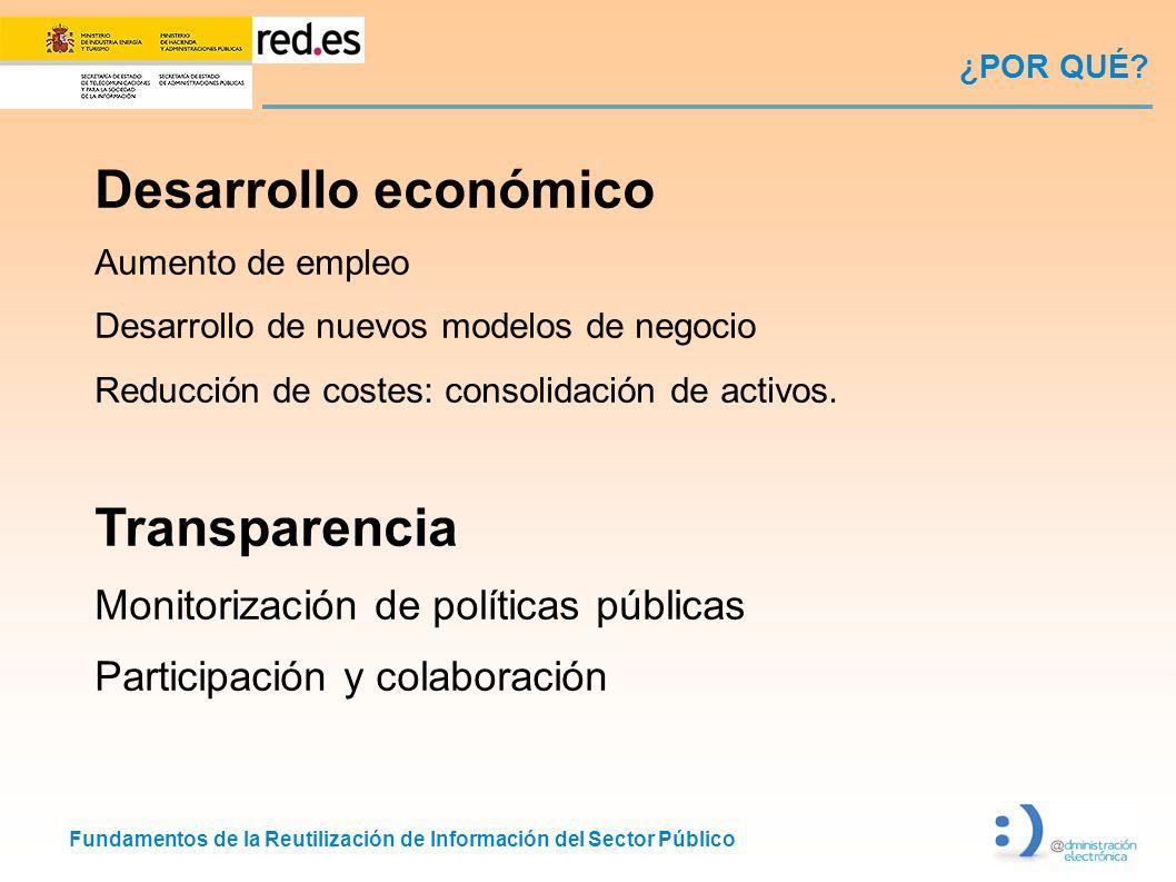 Fundamentos de la Reutilización de Información del Sector Público ¿POR QUÉ? Desarrollo económico Aumento de empleo Desarrollo de nuevos modelos de neg