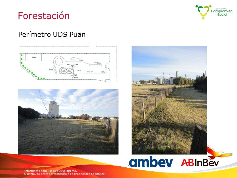Informação para uso exclusivo interno. O conteúdo desta apresentação é de propriedade da AmBev. Forestación Perímetro UDS Puan