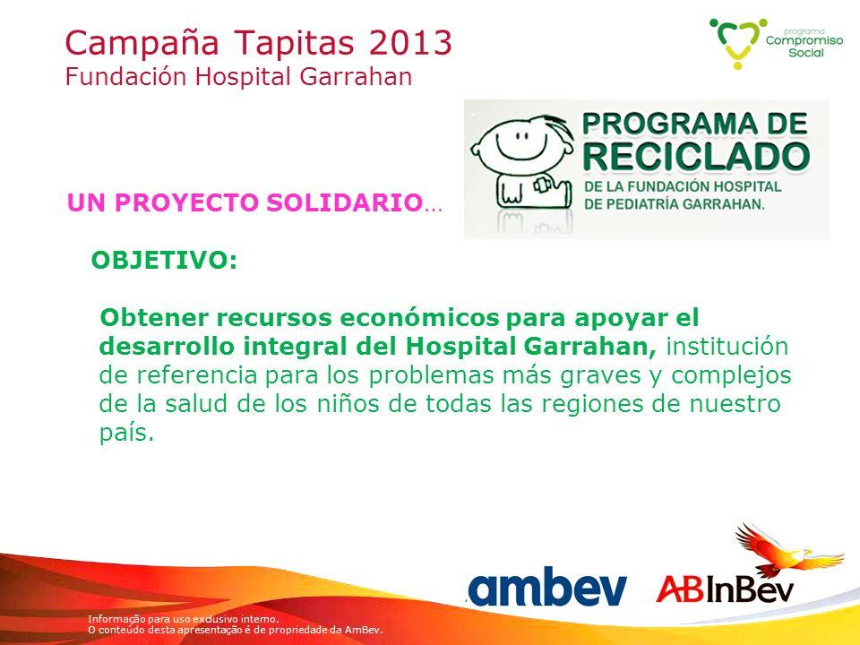 Informação para uso exclusivo interno. O conteúdo desta apresentação é de propriedade da AmBev. Campaña Tapitas 2013 Fundación Hospital Garrahan UN PR