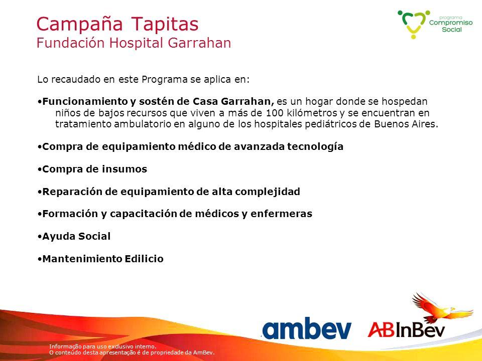 Informação para uso exclusivo interno. O conteúdo desta apresentação é de propriedade da AmBev. Campaña Tapitas Fundación Hospital Garrahan Lo recauda