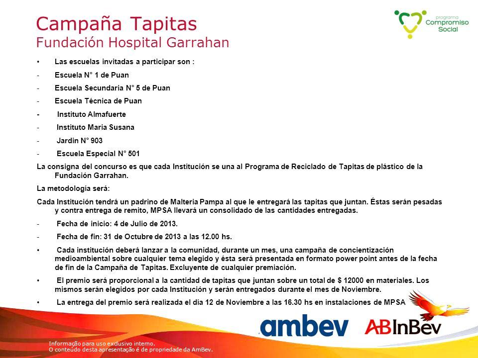 Informação para uso exclusivo interno. O conteúdo desta apresentação é de propriedade da AmBev. Campaña Tapitas Fundación Hospital Garrahan Las escuel