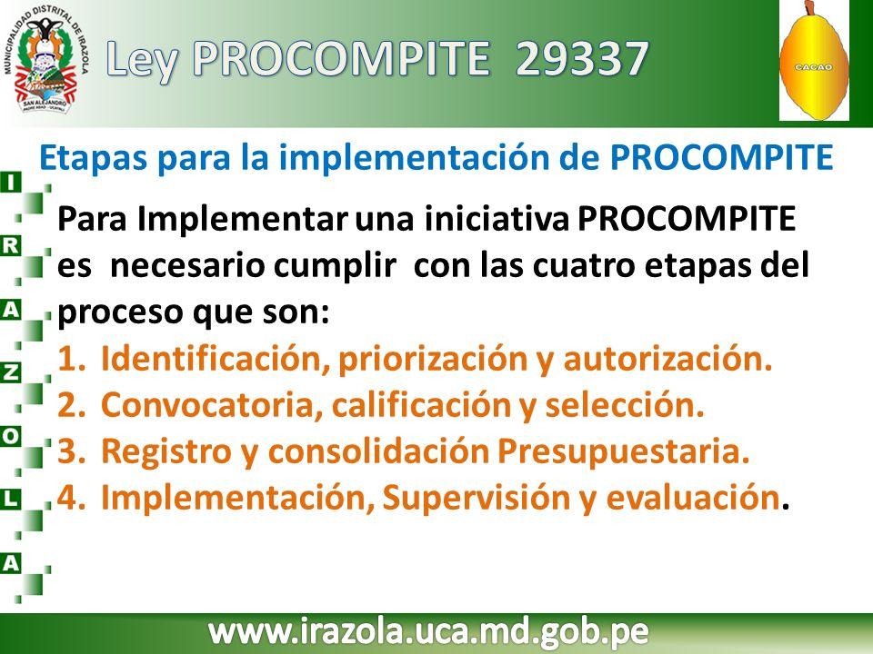 Etapas para la implementación de PROCOMPITE Para Implementar una iniciativa PROCOMPITE es necesario cumplir con las cuatro etapas del proceso que son: