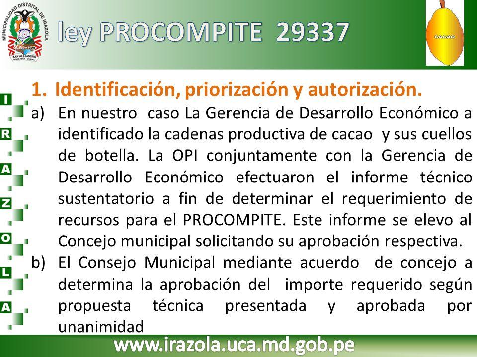 1.Identificación, priorización y autorización. a)En nuestro caso La Gerencia de Desarrollo Económico a identificado la cadenas productiva de cacao y s