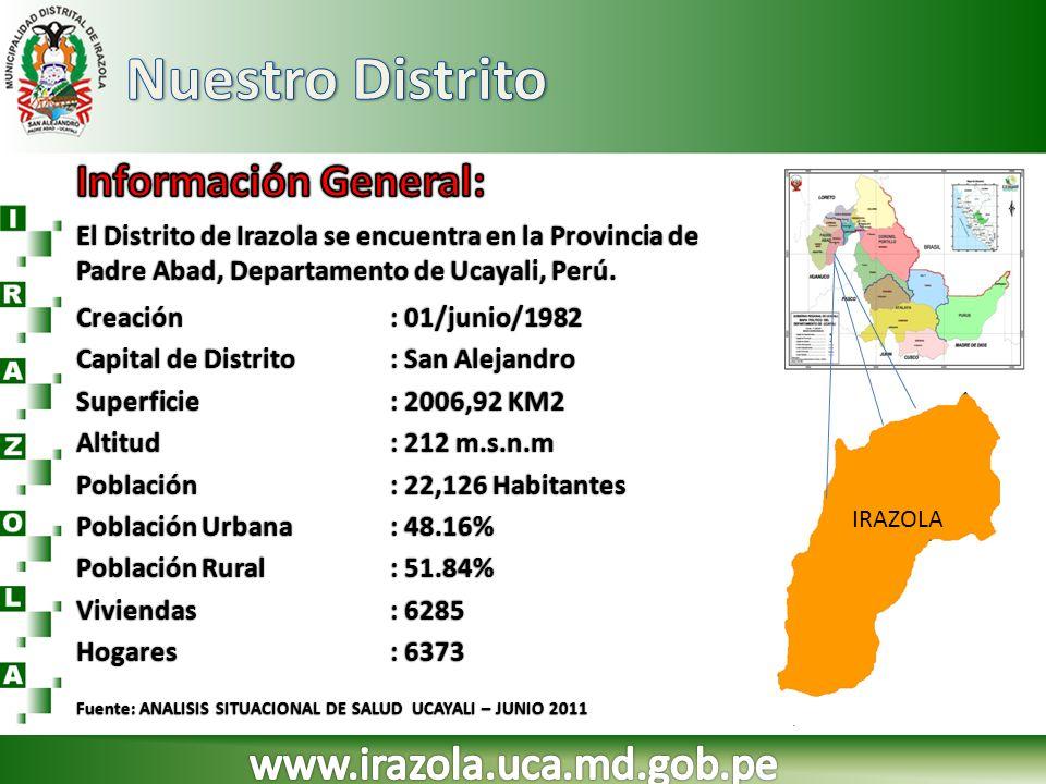 El Distrito de Irazola se encuentra en la Provincia de Padre Abad, Departamento de Ucayali, Perú. IRAZOLA Creación: 01/junio/1982Creación: 01/junio/19