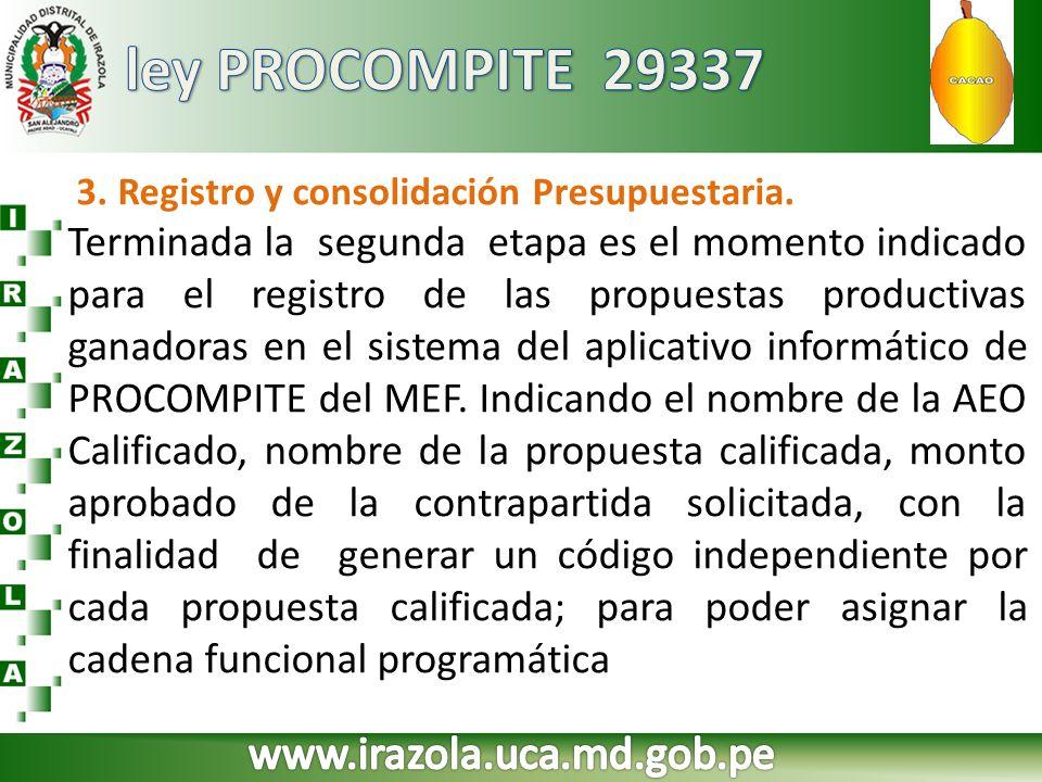3. Registro y consolidación Presupuestaria. Terminada la segunda etapa es el momento indicado para el registro de las propuestas productivas ganadoras