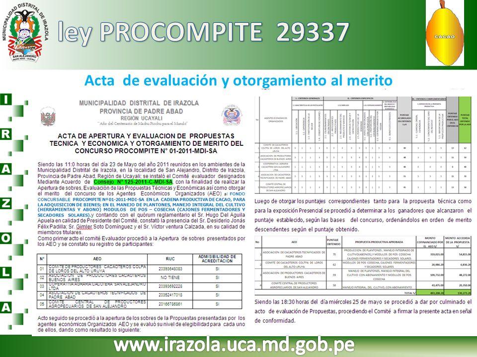 Acta de evaluación y otorgamiento al merito