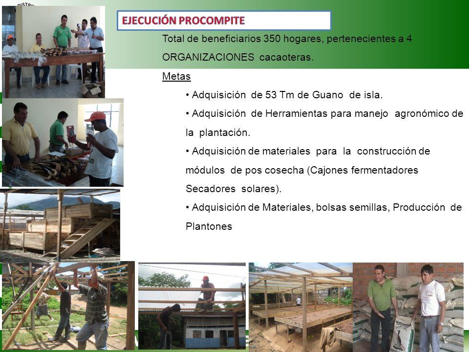 Total de beneficiarios 350 hogares, pertenecientes a 4 ORGANIZACIONES cacaoteras. Metas Adquisición de 53 Tm de Guano de isla. Adquisición de Herramie