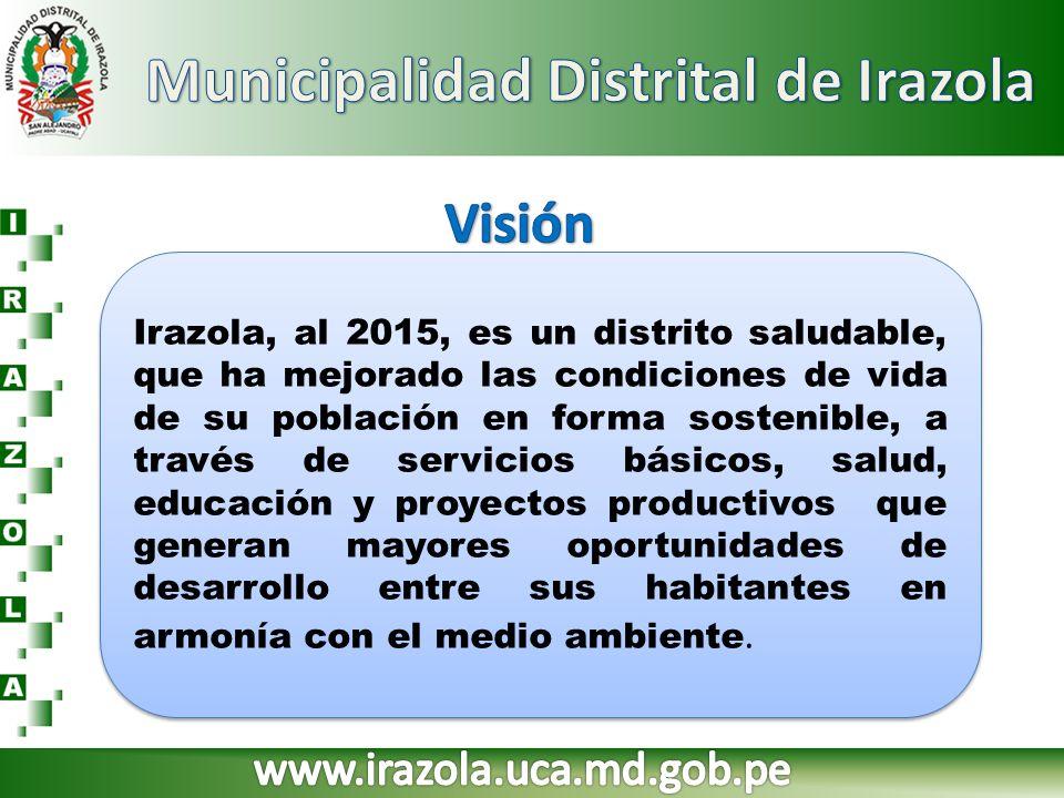 Irazola, al 2015, es un distrito saludable, que ha mejorado las condiciones de vida de su población en forma sostenible, a través de servicios básicos