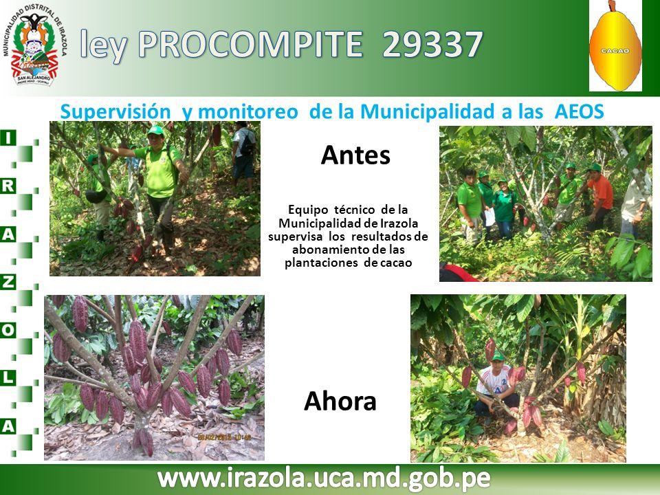 Supervisión y monitoreo de la Municipalidad a las AEOS Equipo técnico de la Municipalidad de Irazola supervisa los resultados de abonamiento de las pl