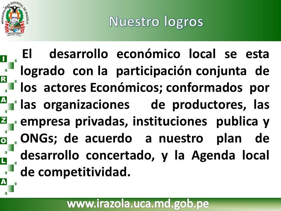 [1] [1] CVP 2007 El desarrollo económico local se esta logrado con la participación conjunta de los actores Económicos; conformados por las organizaci