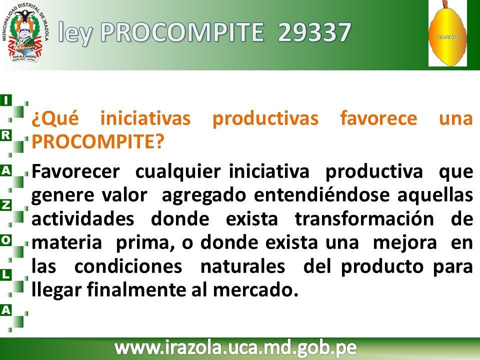 ¿Qué iniciativas productivas favorece una PROCOMPITE? Favorecer cualquier iniciativa productiva que genere valor agregado entendiéndose aquellas activ