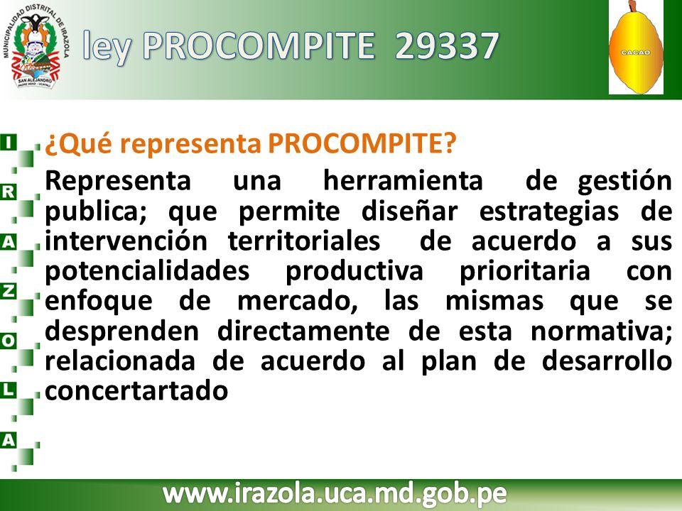 ¿Qué representa PROCOMPITE? Representa una herramienta de gestión publica; que permite diseñar estrategias de intervención territoriales de acuerdo a