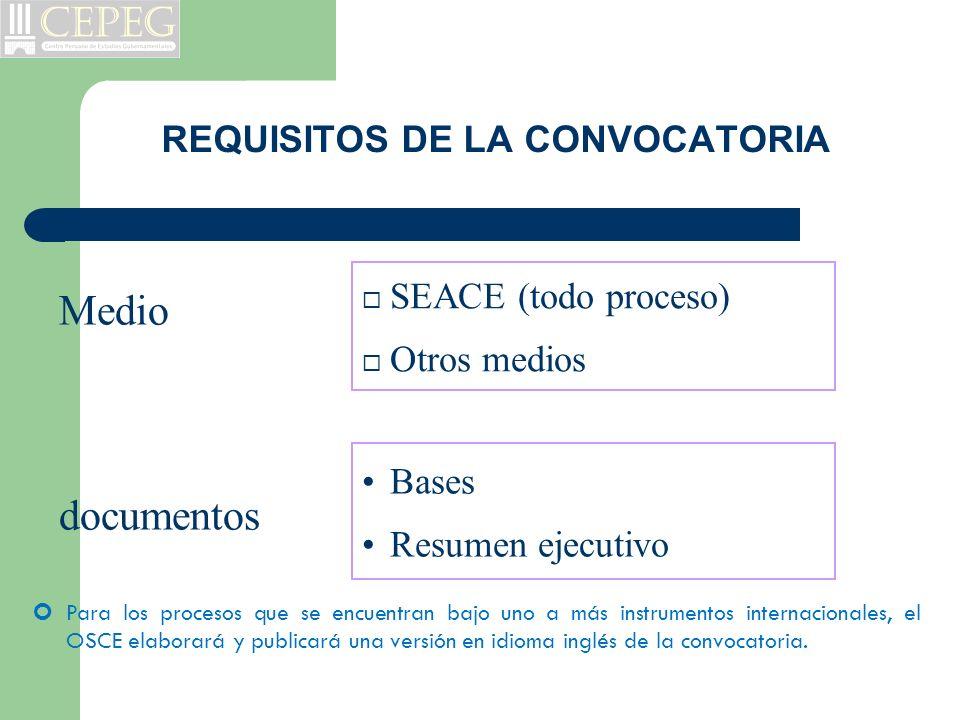 REQUISITOS DE LA CONVOCATORIA SEACE (todo proceso) Otros medios Bases Resumen ejecutivo Medio documentos Para los procesos que se encuentran bajo uno