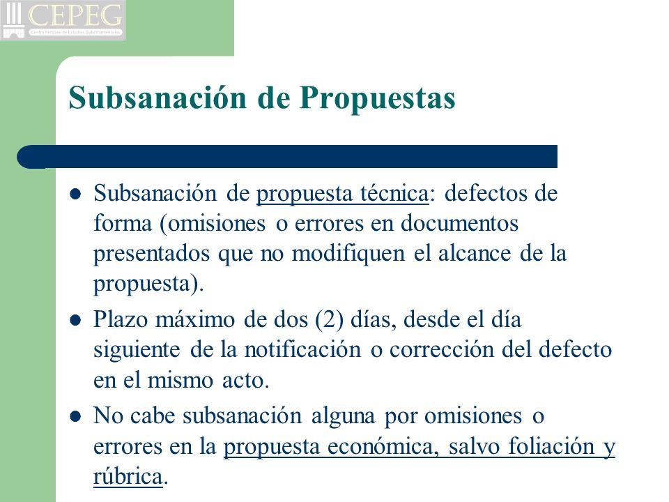 Subsanación de Propuestas Subsanación de propuesta técnica: defectos de forma (omisiones o errores en documentos presentados que no modifiquen el alca