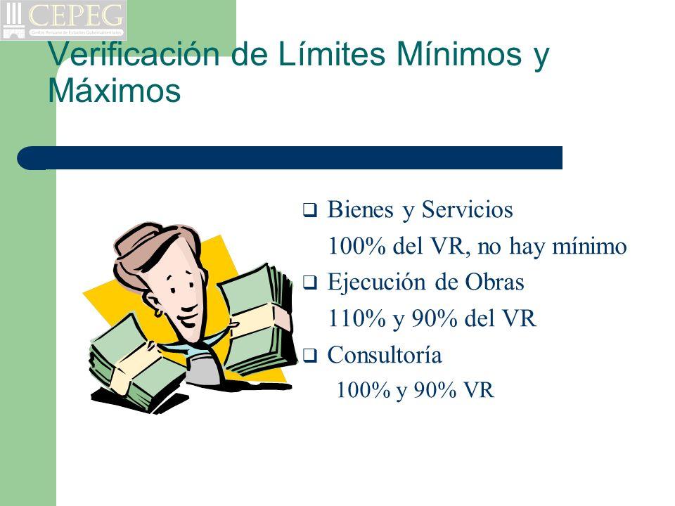 Verificación de Límites Mínimos y Máximos Bienes y Servicios 100% del VR, no hay mínimo Ejecución de Obras 110% y 90% del VR Consultoría 100% y 90% VR