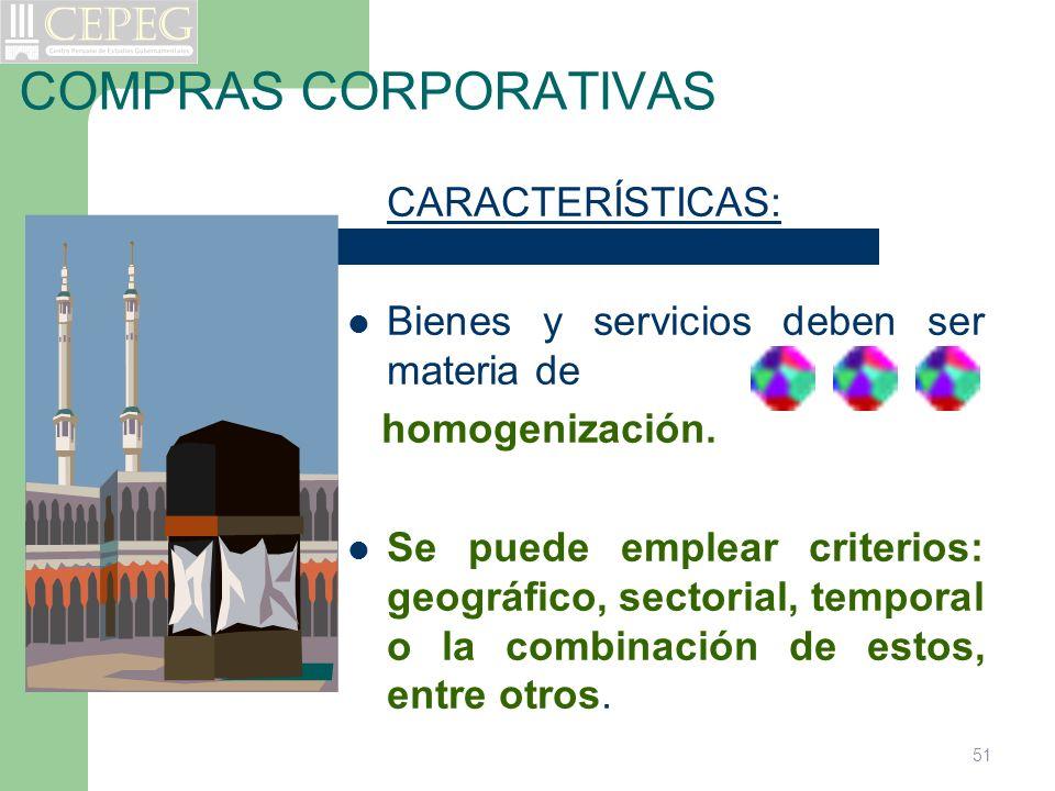 COMPRAS CORPORATIVAS CARACTERÍSTICAS: Bienes y servicios deben ser materia de homogenización. Se puede emplear criterios: geográfico, sectorial, tempo