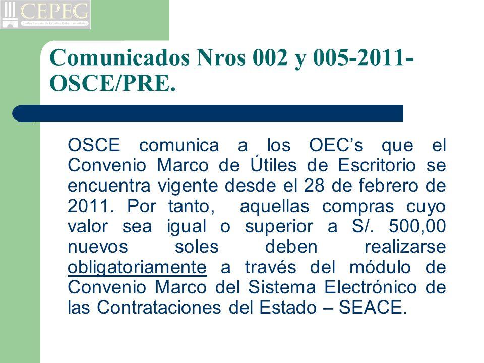 Comunicados Nros 002 y 005-2011- OSCE/PRE. OSCE comunica a los OECs que el Convenio Marco de Útiles de Escritorio se encuentra vigente desde el 28 de