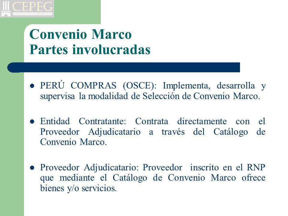 Convenio Marco Partes involucradas PERÚ COMPRAS (OSCE): Implementa, desarrolla y supervisa la modalidad de Selección de Convenio Marco. Entidad Contra