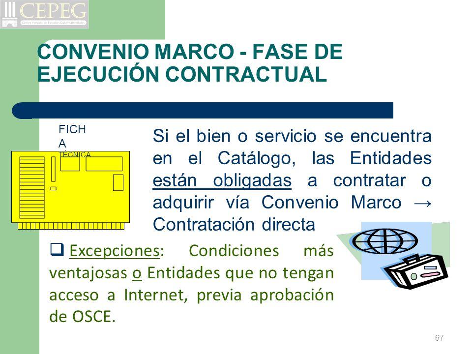 CONVENIO MARCO - FASE DE EJECUCIÓN CONTRACTUAL Si el bien o servicio se encuentra en el Catálogo, las Entidades están obligadas a contratar o adquirir