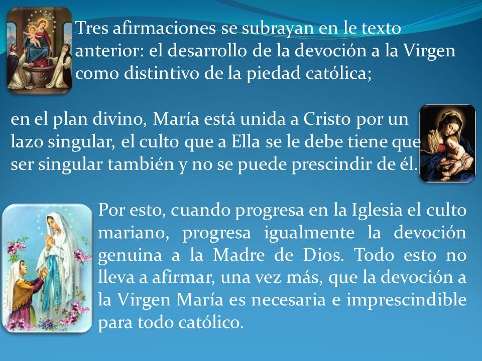 en el plan divino, María está unida a Cristo por un lazo singular, el culto que a Ella se le debe tiene que ser singular también y no se puede prescindir de él.