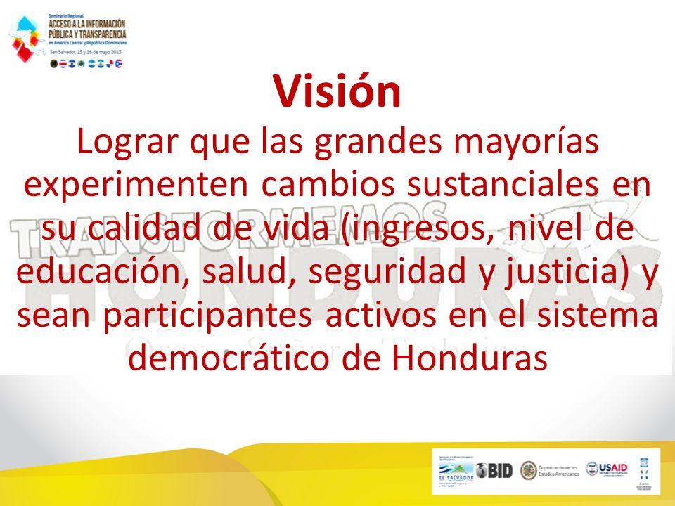 Visión Lograr que las grandes mayorías experimenten cambios sustanciales en su calidad de vida (ingresos, nivel de educación, salud, seguridad y justicia) y sean participantes activos en el sistema democrático de Honduras