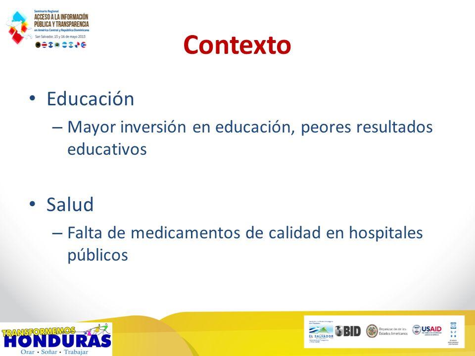 Contexto Educación – Mayor inversión en educación, peores resultados educativos Salud – Falta de medicamentos de calidad en hospitales públicos