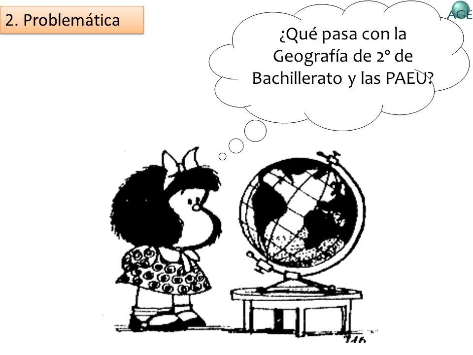 ¿Qué pasa con la Geografía de 2º de Bachillerato y las PAEU? 2. Problemática