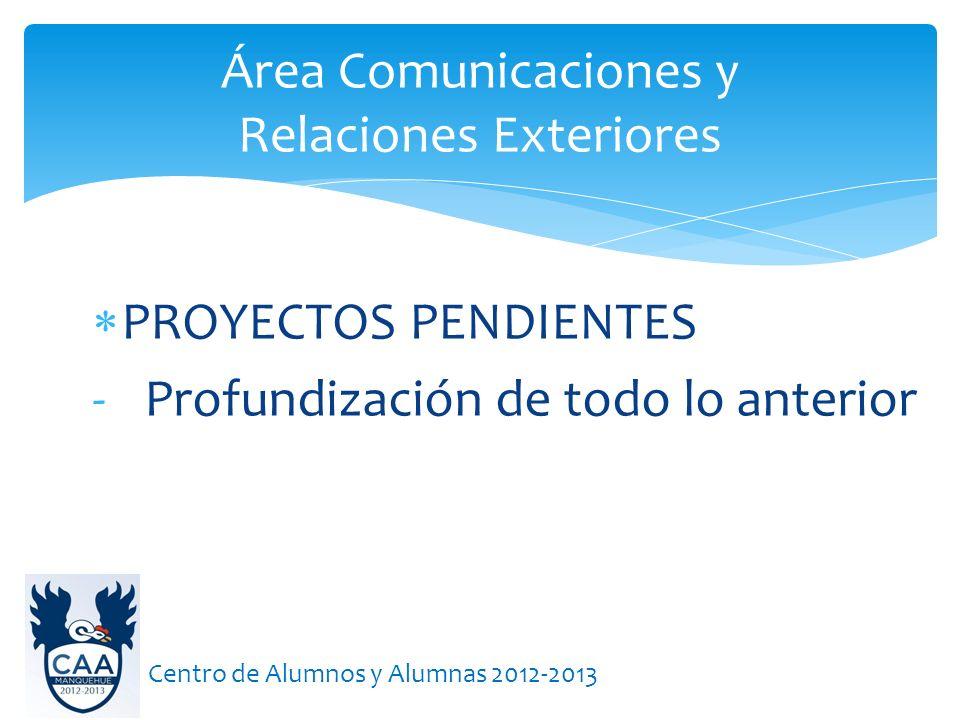 Área Comunicaciones y Relaciones Exteriores Centro de Alumnos y Alumnas 2012-2013 PROYECTOS PENDIENTES - Profundización de todo lo anterior