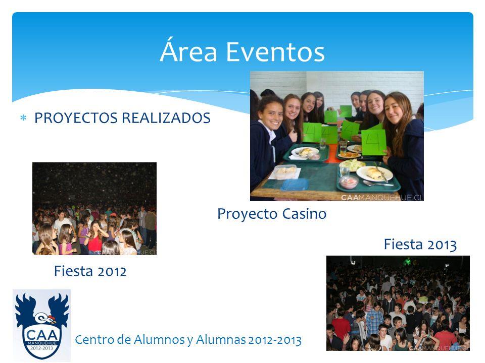 PROYECTOS REALIZADOS Área Eventos Centro de Alumnos y Alumnas 2012-2013 Fiesta 2012 Fiesta 2013 Proyecto Casino
