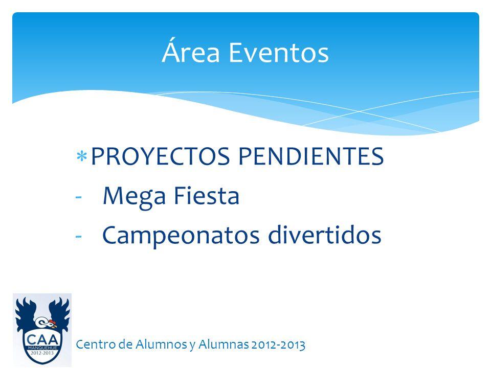 Área Eventos Centro de Alumnos y Alumnas 2012-2013 PROYECTOS PENDIENTES - Mega Fiesta - Campeonatos divertidos