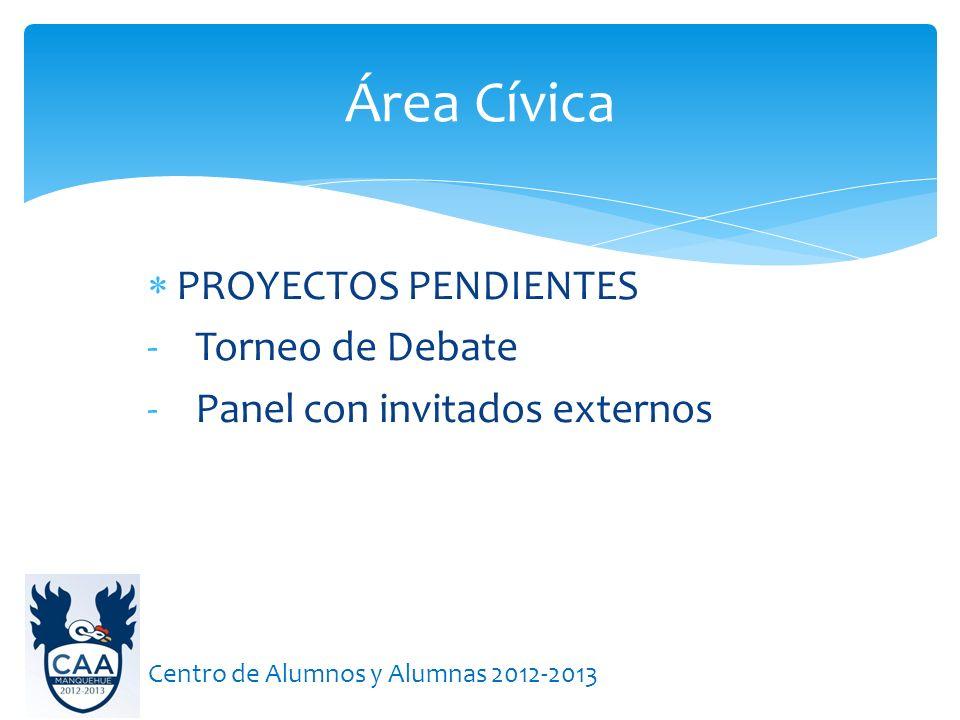 Área Cívica Centro de Alumnos y Alumnas 2012-2013 PROYECTOS PENDIENTES - Torneo de Debate - Panel con invitados externos