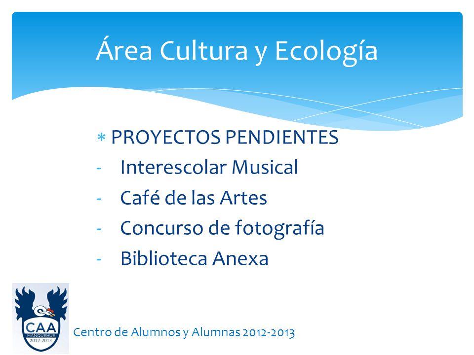 PROYECTOS PENDIENTES - Interescolar Musical - Café de las Artes - Concurso de fotografía - Biblioteca Anexa Área Cultura y Ecología Centro de Alumnos y Alumnas 2012-2013