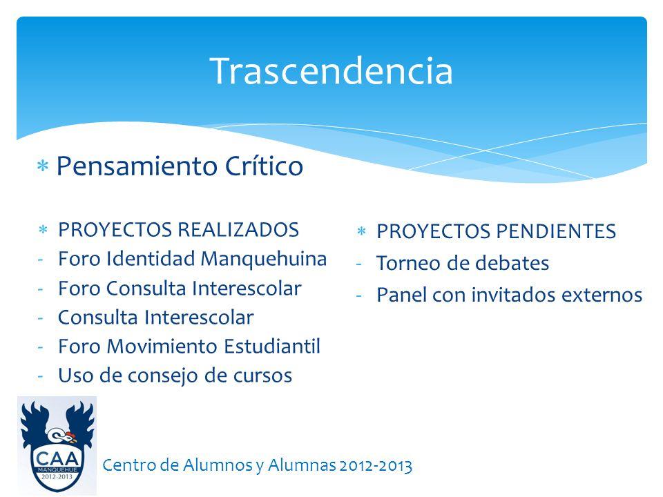 Pensamiento Crítico Trascendencia Centro de Alumnos y Alumnas 2012-2013 PROYECTOS REALIZADOS -Foro Identidad Manquehuina -Foro Consulta Interescolar -