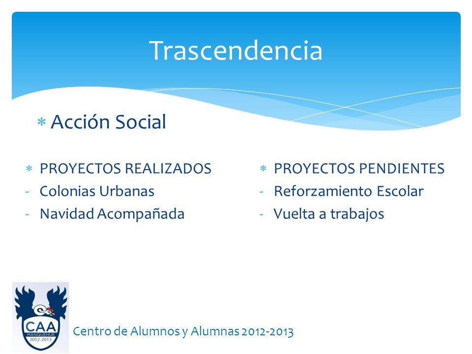 Acción Social Trascendencia Centro de Alumnos y Alumnas 2012-2013 PROYECTOS REALIZADOS -Colonias Urbanas -Navidad Acompañada PROYECTOS PENDIENTES -Ref