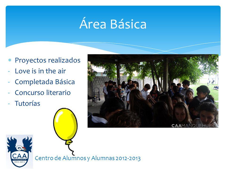 Proyectos realizados -Love is in the air -Completada Básica -Concurso literario -Tutorías Área Básica Centro de Alumnos y Alumnas 2012-2013