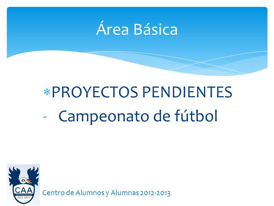Área Básica Centro de Alumnos y Alumnas 2012-2013 PROYECTOS PENDIENTES - Campeonato de fútbol