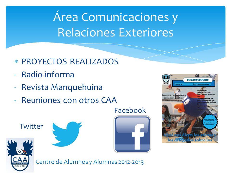 PROYECTOS REALIZADOS -Radio-informa -Revista Manquehuina -Reuniones con otros CAA Área Comunicaciones y Relaciones Exteriores Centro de Alumnos y Alumnas 2012-2013 Facebook Twitter