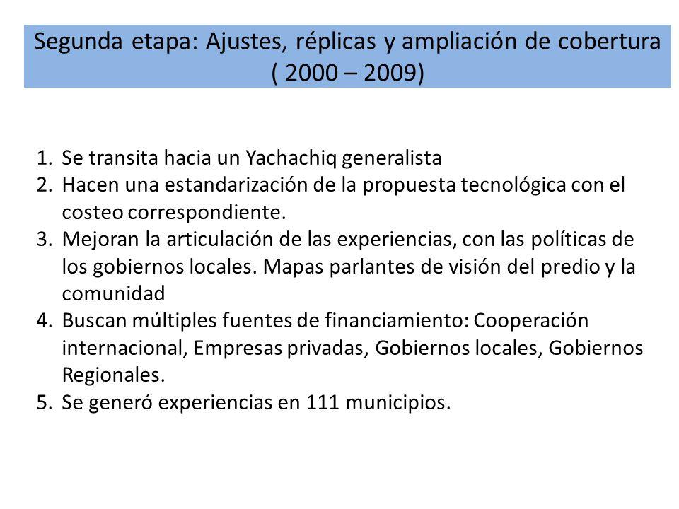 Segunda etapa: Ajustes, réplicas y ampliación de cobertura ( 2000 – 2009) 1.Se transita hacia un Yachachiq generalista 2.Hacen una estandarización de