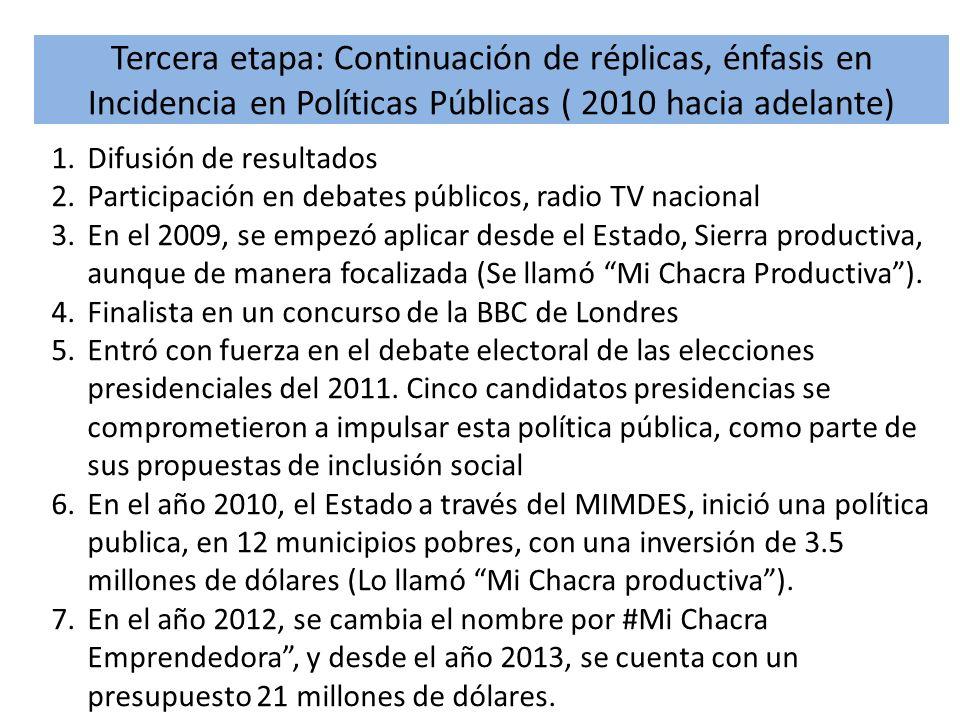 Tercera etapa: Continuación de réplicas, énfasis en Incidencia en Políticas Públicas ( 2010 hacia adelante) 1.Difusión de resultados 2.Participación e