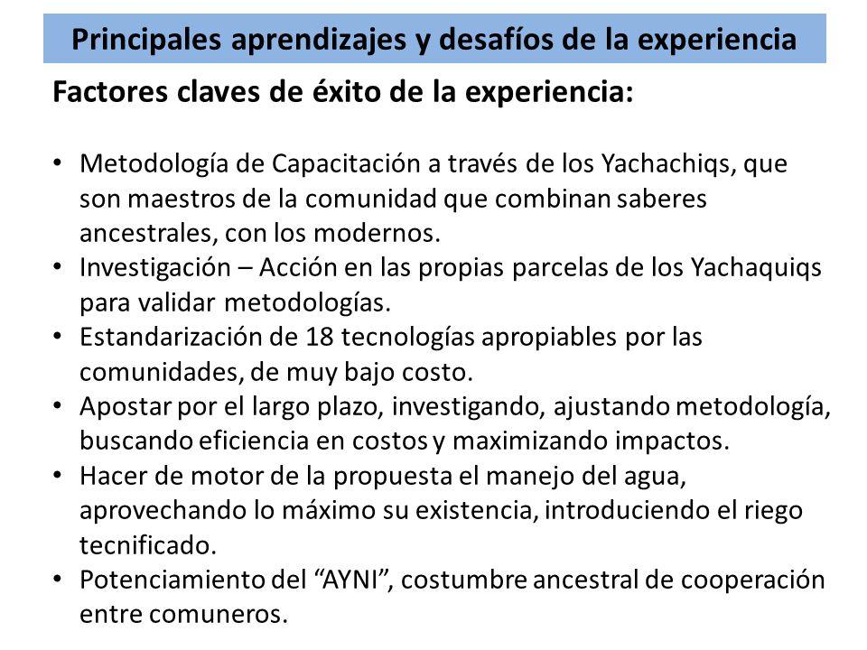 Principales aprendizajes y desafíos de la experiencia Factores claves de éxito de la experiencia: Metodología de Capacitación a través de los Yachachi