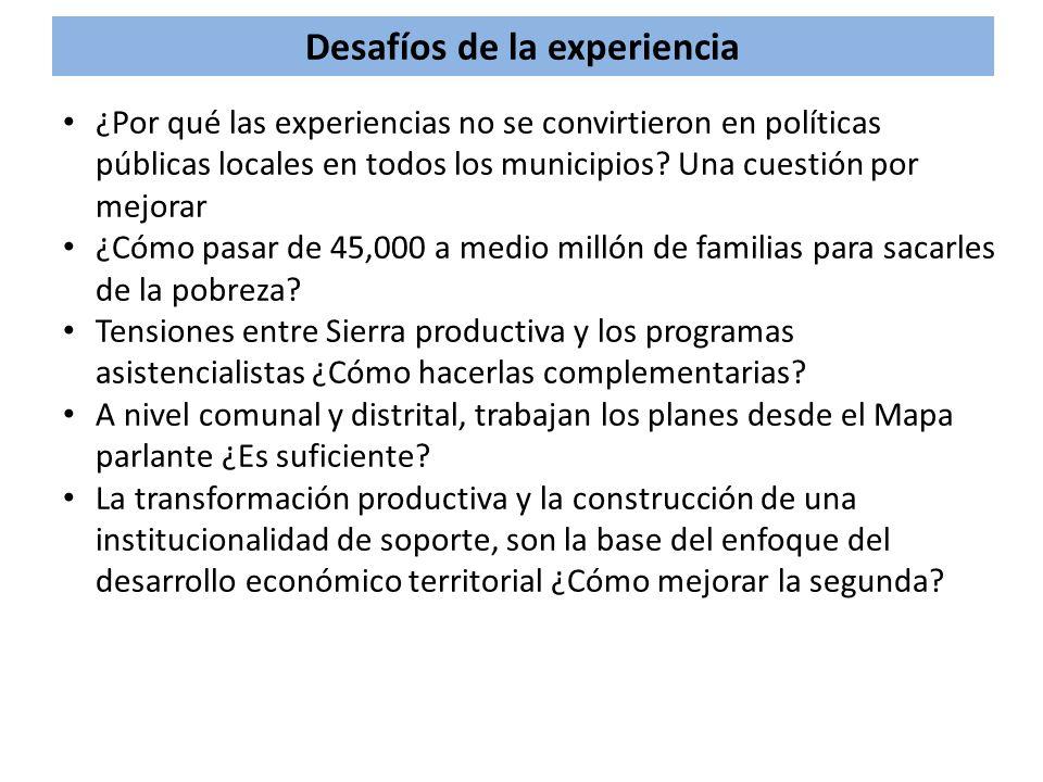 Desafíos de la experiencia ¿Por qué las experiencias no se convirtieron en políticas públicas locales en todos los municipios? Una cuestión por mejora
