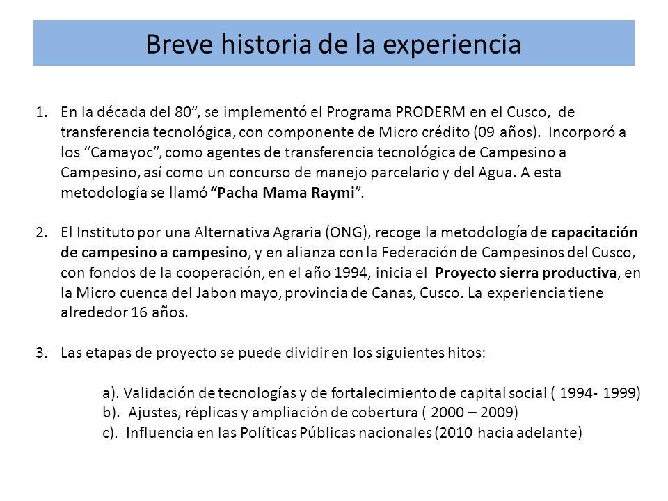 Breve historia de la experiencia 1.En la década del 80, se implementó el Programa PRODERM en el Cusco, de transferencia tecnológica, con componente de