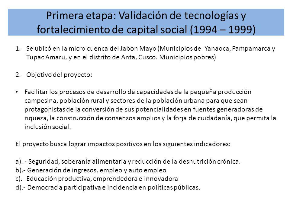 Primera etapa: Validación de tecnologías y fortalecimiento de capital social (1994 – 1999) 1.Se ubicó en la micro cuenca del Jabon Mayo (Municipios de
