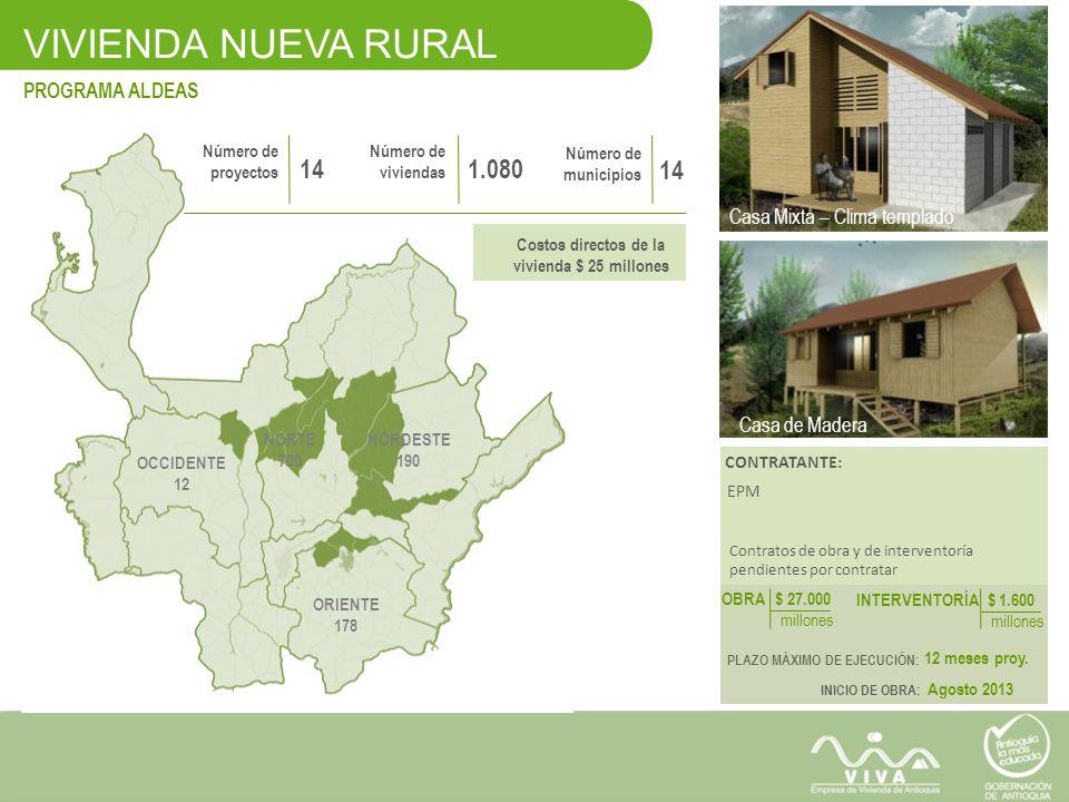 VIVIENDA NUEVA RURAL PROGRAMA ALDEAS VIVIENDA NUEVA RURAL Casa Mixta – Clima templado Casa En Madera – Clima templado Número de proyectos 14 Número de