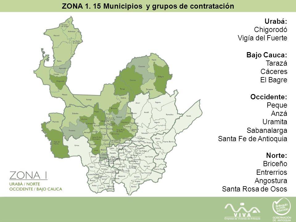 ZONA 1. 15 Municipios y grupos de contratación Urabá: Chigorodó Vigía del Fuerte Bajo Cauca: Tarazá Cáceres El Bagre Occidente: Peque Anzá Uramita Sab