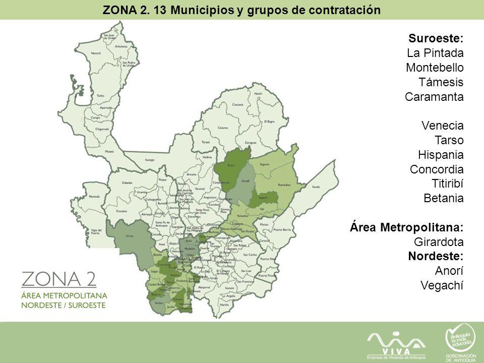 ZONA 2. 13 Municipios y grupos de contratación Suroeste: La Pintada Montebello Támesis Caramanta Venecia Tarso Hispania Concordia Titiribí Betania Áre